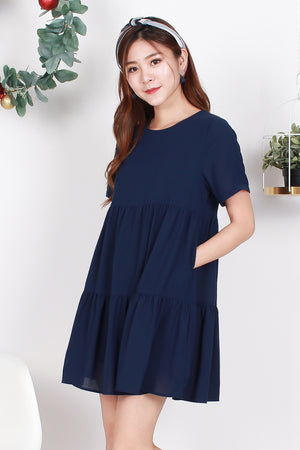 *TSA Label* Paula Babydoll Tiered Dress In Navy