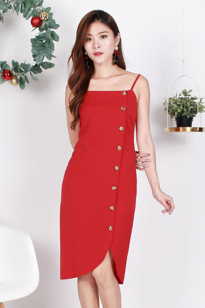 *Premium* Luisa Button Curve Hem Dress In Aurora Red