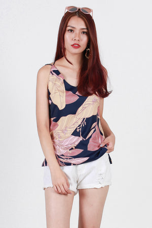 Tara Floral Strappy Top In Navy