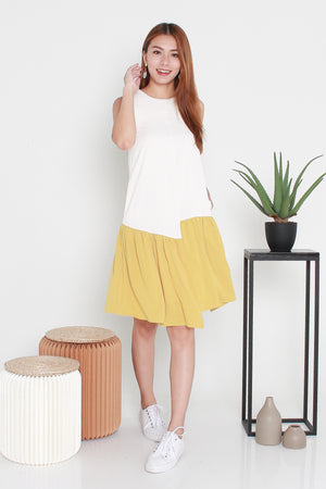 Klinda Colourblock Midi Dress In Ecru Yellow
