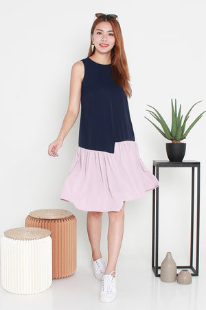 Klinda Colourblock Midi Dress In Navy Pink