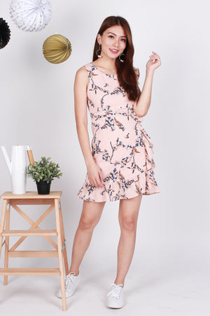 Rosette Floral-Frill Dress In Pink