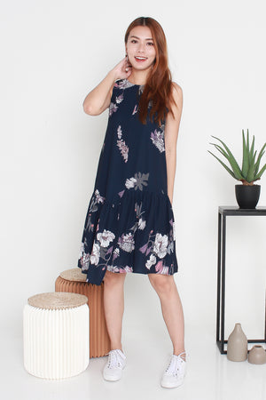 Klinda Floral Midi Dress In Navy