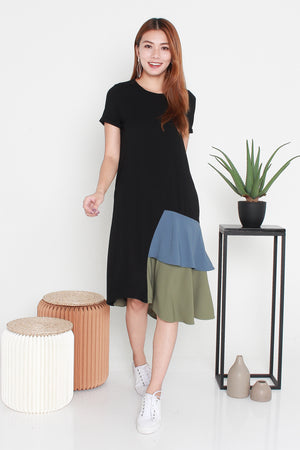Brynn Colourblock Asymmetrical Midi Dress