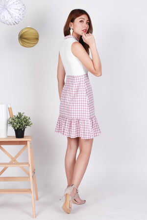 *Premium* Rylin Gingham Peplum-Hem Dress In Pink