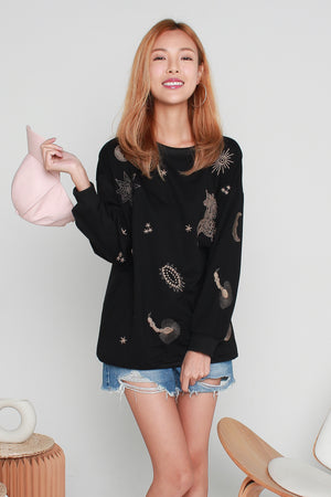 Thara Cosmos Pullover In Black