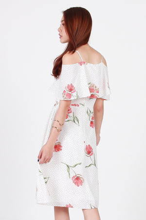 *Premium* Lovato Cold Shoulder Dress In White