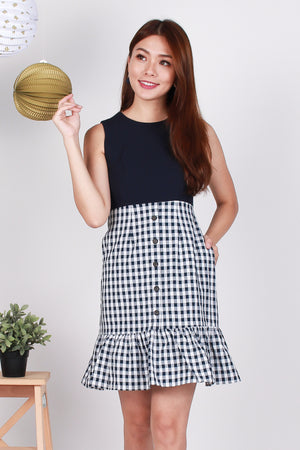 *Premium* Rylin Gingham Peplum-Hem Dress In Navy