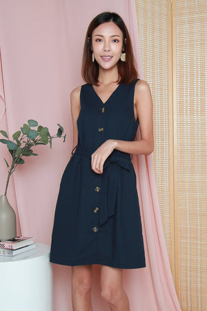 Polly Buttoned Dress In Navy