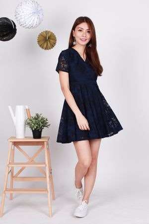 Stacie Floral Lace Dress In Navy