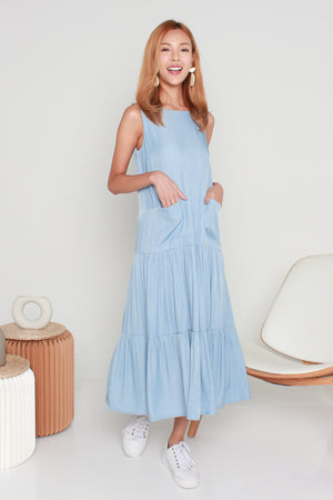 *TSA Label* Kadeen Tiered Maxi Dress In Light Denim