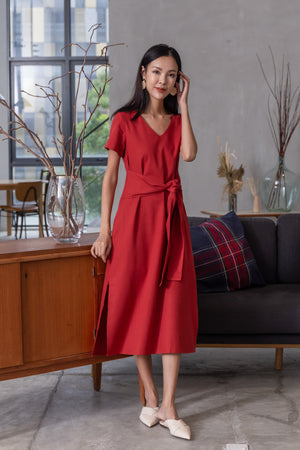 Hera Linen Tie Front Midi Dress In Rust