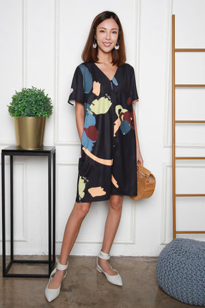 *RESTOCK* Isador Brushstrokes Flutter Sleeves Dress In Black