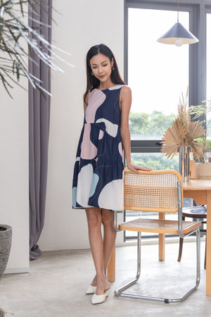 Kacia Abstract Tiered Dress In Navy