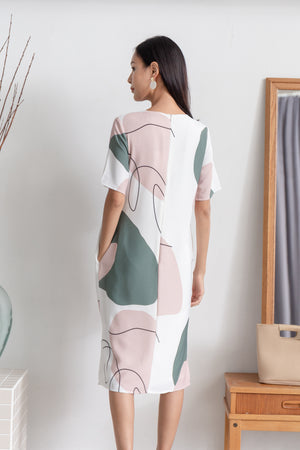 Yander Abstract Midi Dress In Olive