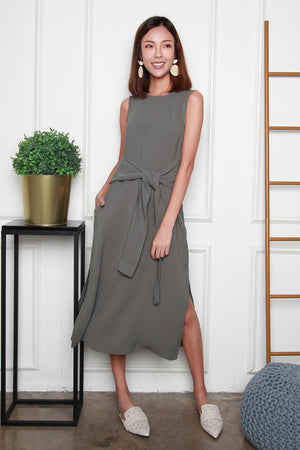 *RESTOCK* *TSA Label* Olenna Tie Front Midi Dress In Olive