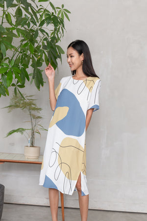 Yander Abstract Midi Dress In Blue