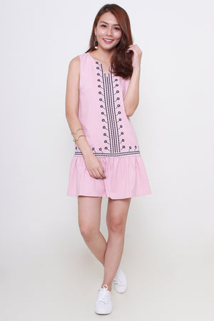 *RESTOCK* *Premium* Aulil Embroidered Dress In Dusty Pink