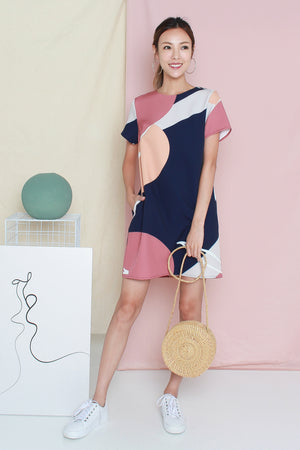 *TSA Label* Lumi Abstract Shift Dress In Navy