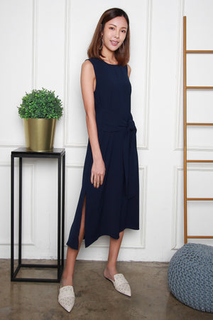 *RESTOCK* *TSA Label* Olenna Tie Front Midi Dress In Navy