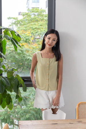 Marjorie Square Neck Top In Pistachio
