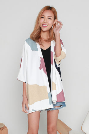 *TSA Label* Sander Pebbles Reversible Kimono In White
