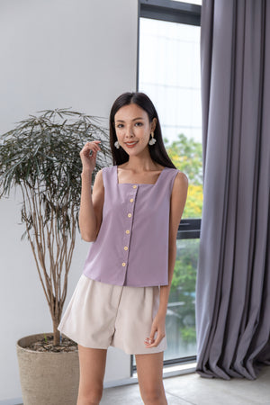 Marjorie Square Neck Top In Lilac