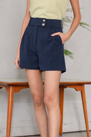 Carleigh Button Shorts In Navy