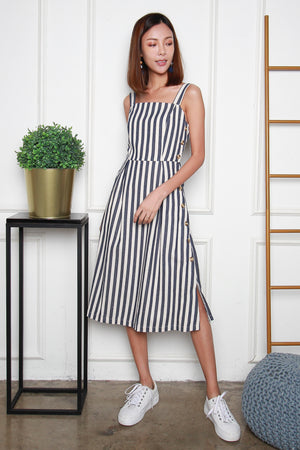 Blanca Striped Linen Dress In Navy