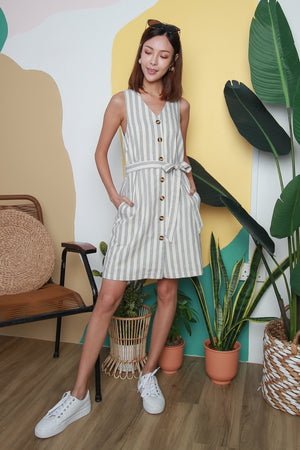 Polly Striped Buttoned Dress In Grey
