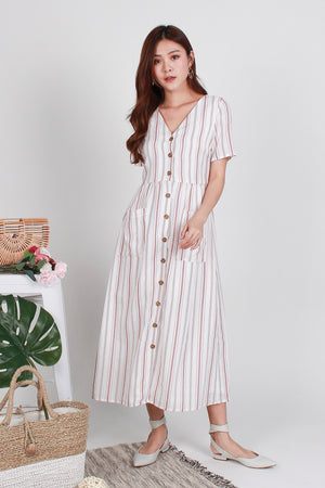 Olivia Stripes Button Maxi In Blush Pink
