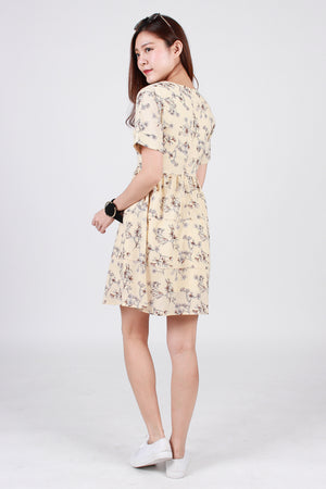 Keiryn Floral Tiered Dress In Cream