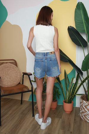 Yona Sleeveless Knit Top In White