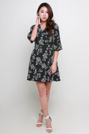 *TSA Label* Marlene Floral Wrap Dress In Olive