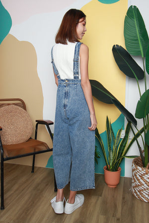 Jamie Denim Dungaree In Acid Wash