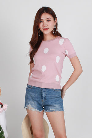 Molly Dottie Knit Top In Pink