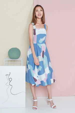 Wanderlust Abstract Midi Dress In Sky Blue