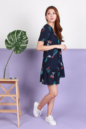 *RESTOCK* *TSA Label* Arielle Asymmetry Hem Dress In Navy Prints