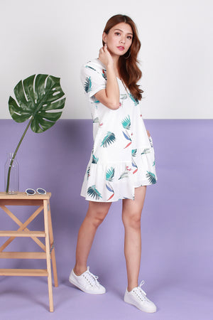 *TSA Label* Arielle Asymmetry Hem Dress In White Prints