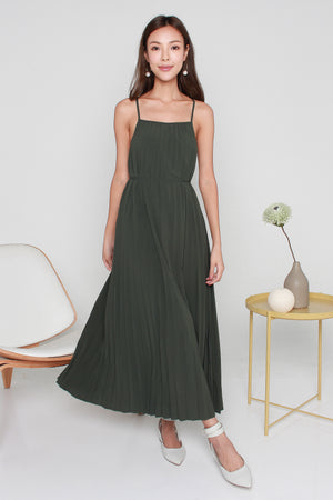 Danielle Accordion Pleated Maxi Dress In Olive