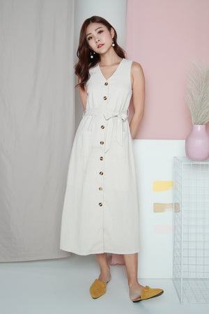 *TSA Label* Paddie Linen Tank Dress In Ecru
