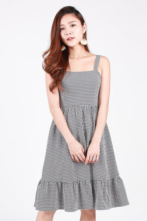 Pocketful of Sunshine Dress In Black Gingham