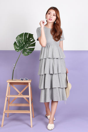 Colleen Layered Maxi Dress In Grey