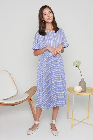 Averil Accordion Pleated Dress In Periwinkle Blue