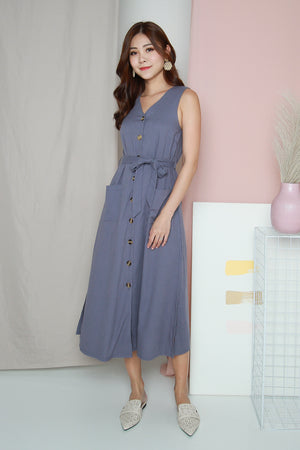 *TSA Label* Paddie Linen Tank Dress In Periwinkle Blue