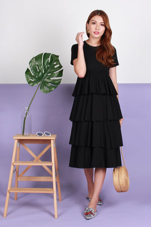 Colleen Layered Maxi Dress In Black