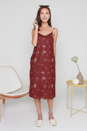 Brunch Date Slip Dress In Wine