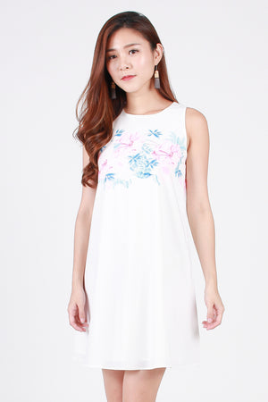Ambrosia Floral Trapeze Dress In Blue/Pink