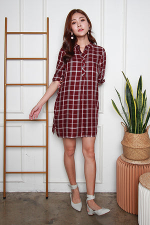 *TSA Label* Mathilda Checkered Shirt Dress In Wine