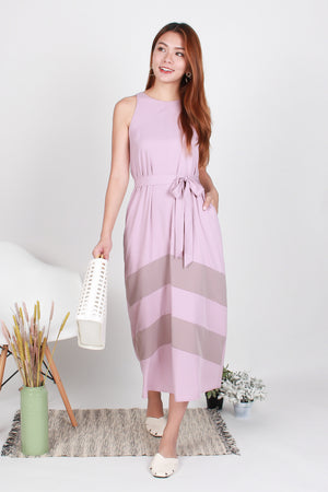 Nila Chevron Maxi Dress In Pink